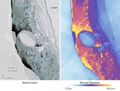 Отколовшийся от Антарктиды айсберг плывет в океан